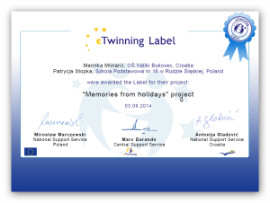 "Projekt eTwinning ""Memories from holidays"""
